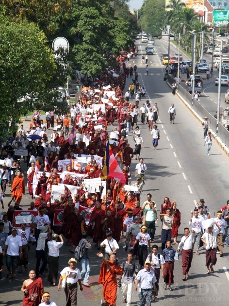 monks protest in rangoon over the opening of a OIC office in Burma