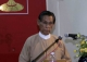 The Deputy Leader of the National League for Democracy U Tin Oo gives a speech on the National Day at NLD headquarters in Rangoon, Burma