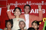 Burma pro-democracy leader Aung San Suu Kyi with her son Kim Aris took photos with Children on the World AIDS Day.
