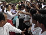 Burma pro-democracy leader Aung San Suu Kyi visits the community-dwelling to see local livelihoods.