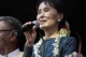 Aung San Suu Kyi gives a speech to the public after her release at the NLD headquarters in Rangoon, Burma.