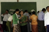 Voters wait to register before to cast their ballot at the polling station in the first election in Bago Region.
