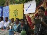 Chairman of Democratic Party (Myanmar), U Thu Wai runs political campaign at Gyobingauk in western Bago Region, Burma.