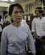 Pro-democracy leader Aung San Suu Kyi held a meeting with NLD youths at headquarters in Rangoon, Burma.