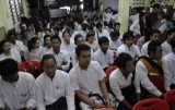 NLD youths participate meeting at the NLD headquarter in Rangoon, Burma.