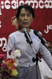 Burma pro-democracy leader Aung San Suu Kyi gives speeches at a meeting with young people at National League for Democracy headquarters in Bahan Township, Rangoon.