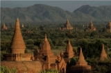 The view of famous Bagan pagoda in Mandalay.