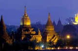 Sin Myar Shin is illuminated at night in Bagan, Burma.