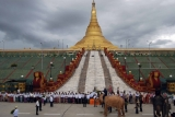 Mahouts train Myanmar's fifth white elephant during lavish welcome ceremony for it at Uppatasanti Pagoda in Naypyitaw, Burma.