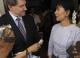 Burma pro-democracy leader Aung San Suu Kyi talks with Guy Ryder, Deputy Director General of International Labour Organization (ILO) at her house in Rangoon, Burma.