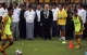 Burma football team presents how to move the football during Seep Blatter on his first trip to Burma.