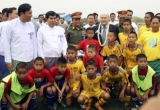 The chief of FIFA Seep Blatter, opened the football academy in Mandalay, Burma.