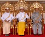 Burma President Thein Sein (Centre), Vice President Thiha Thura Tin Aung Myint Oo (Left) and Vice President Sai Mauk Khan (a) Maung Ohn sit on chairs as they pose for photo at the parliament in Naypyidaw, Burma.