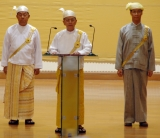 Burma President Thein Sein (Centre) delivers his speech while he is flanked by Vice President Thiha Thura Tin Aung Myint Oo (Left) and Vice President Sai Mauk Khan (a) Maung Ohn at the parliament in Naypyidaw, Burma.