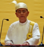 Burma President Thein Sein delivers his speech at the parliament in Naypyidaw, Burma.
