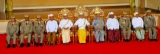 Burma's National Defence and Security Council led by President Thein Sein (Centre) as they pose for photo at the parliament in Naypyidaw, Burma.