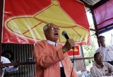 The chairman of National Democratic Force (NDF) Than Nyein deliver his speech during held a conference with people in Tamwe Township, Rangoon.