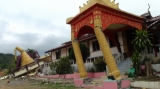 The 6.8 magnitude earthquake destroyed monastery and pagoda in Tarlay, Easter Shan State, Burma.