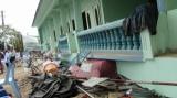 An earthquake damaged building in Tarlay, Easter Shan State, Burma.