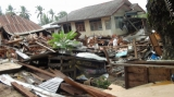 The building was damaged by the 6.8 magnitude earthquake in Tarlay, Easter Shan State, Burma.