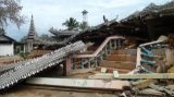 The building and monastery was damaged by the earthquake in Tarlay, East Shan State, Burma.