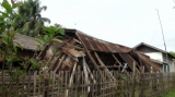 An earthquake damaged a building in Tarlay, Easter Shan State, Burma.
