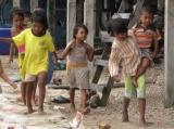 Migrant children walk around their camp in Ranong, southern Thailand.