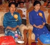 13-04-11 Two Burmese deputy ministers at the opening ceremony for the traditional Thingyan Festival in Naypyidaw, the capital of Burma. (Left) Dr.Myat Myat Ohn Khin , deputy minister for Health and (Right) Daw Sandar Khin, deputy minister for culture.