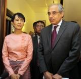 Burma pro-democracy leader Aung San Suu Kyi  is  meeting with Vijay Nambiar a top aide to U.N. Secretary-General Ban Ki-moon, at her home in Rangoon, Burma.