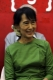 16-05-11 - Photo:- Irrawaddy Burma pro-democracy leader Aung San Suu Kyi laughs during a ceremony for a month course on journalism with her National League for Democracy party's youth members at the party's headquarters in Rangoon Burma. Over 50 members participated in the course.