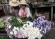 Vendors sell flowers at local market in Nyaung Tone, Burma Irrawaddy Delta, about 60 miles southwest of Rangoon, Burma.