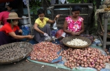 Vendors sell groceries at market in Nyaung Tone, Burma Irrawaddy Delta, about 60 miles southwest of Rangoon, Burma.