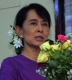 Burma pro-democracy leader Aung San Suu Kyi delivers her speech during the welcoming ceremony to political prisoners who released on May.17 and paper reading session on elections conducted by her National League for Democracy party (NLD) at the headquarters of the party in Rangoon, Burma.