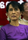 Burma pro-democracy leader Aung San Suu Kyi attends the welcoming ceremony to political prisoners who released on May.17 and paper reading session on elections conducted by her National League for Democracy party (NLD) at the headquarters of the party in Rangoon, Burma.