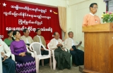 Tin Oo, the chairman of National League for Democracy party (NLD) delivers his speech during the welcoming ceremony to political prisoners who released on May.17 and paper reading session on elections conducted by NLD at the headquarters of the party in Rangoon, Burma.