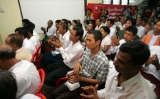 Political prisoners attend the welcoming ceremony and paper reading session on elections conducted by National League for Democracy party (NLD) at the headquarters of the party in Rangoon, Burma.