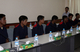 Burma fishermen rescued by Sri Lankan Navy are seen during a press conference at Myanmar Fisheries Federation (MFF) for one day after back from Sri Lanka by flight in Rangoon, Burma.