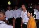 05-07-11 - PHOTO;- irrawaddy Myanmar democracy leader Aung San Suu kyi visits Anandar pagoda along with her youngest son Kim Aris at Bagan, Myanmar