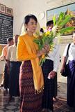 Myanmar democracy leader Aung San Suu kyi visits Anandar pagoda along with her youngest son Kim Aris at Bagan, Myanmar