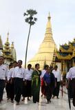 Myanmar Democracy leader Aung San Suu Kyi and her youngest son Kim Aris visit Shwedagon Pagoda on Tuesday, 12 July, 2011, Yangon Myanmar.
