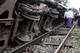 Commuter train slipped from railway line on Thursday  September 1, 2011, in Yangon, between Bu-tar-yone street and Hletan Railway Station. 4 people wounded.