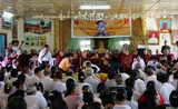 Myanmar politicians cerebrate the fourth anniversary of the Buddhist monks protest at a monastery on Monday, September 26, 2011, in Yangon, Myanmar.