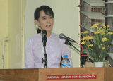 Myanmar  democracy leader Aung San Suu Kyi attends an event of 23rd anniversary of her National League for Democracy party at the party's headquarters on Tuesday, September 27, 2011, in yangon, Myanmar.