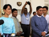 Myanmar democracy leader Aung San Suu Kyi meet Myanmar Social Welfare and Labors Minister U Aung Kyi at Seinleikanthar government guest house today. (30.oct. 2011) in Yangon, Myanmar.
