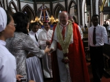 Cardinal Renato Raffaele Martino, a Vatican envoy, attends a ceremony to mark the 100th the founding anniversary of St. Mary's Cathedral in Yangon, Myanmar.Wednesday, Dec.7, 2011.