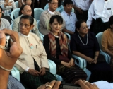 30-12-2011 Aung San Suu Kyi attends music concert organized by NLD party at Myanmar Convention Center (MCC) on Friday, Dec.30, 2011, in Yangon, Myanmar
