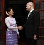 William Hague, Britain's Foreign Secretary, meets  Aung San Suu Kyi.