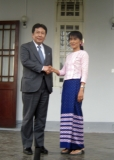 Suu Kyi meets Trade and Industry Minister Yukio Edano at her house on 12 Jan 2012, Myanmar