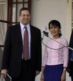 Suu Kyi meets Derek Mitchell at her house on 12 Jan 2012, Yangon, Myanmar.