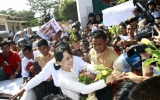 Suu Kyi submits candidates list of her NLD party for by-election at Yangon District Election Commission  on Wednesday, Jan.18, 2012, in Yangon, Myanmar.